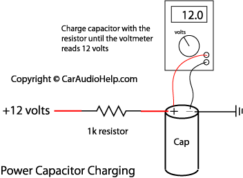 car audio capacitor installation rh caraudiohelp com Single Phase Capacitor Motor Wiring Diagrams Capacitor Circuit Diagram