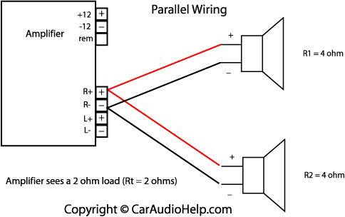 Quad  lifier 40W 9921 furthermore 4 Channel   Wiring Diagram also Speaker Wiring Diagram Series Vs Parallel Ohm Load additionally  on bridging 4 channel amp diagram