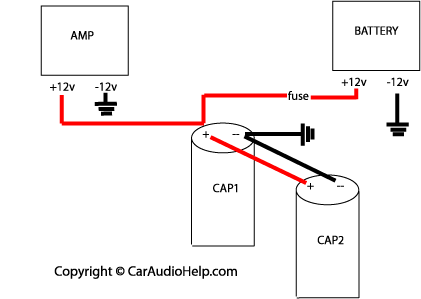car audio capacitor installation rh caraudiohelp com Diagram Wiring Motor Capacitor car amp capacitor wiring diagram